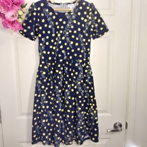Lularoe Amelia navy blue yellow dots dress